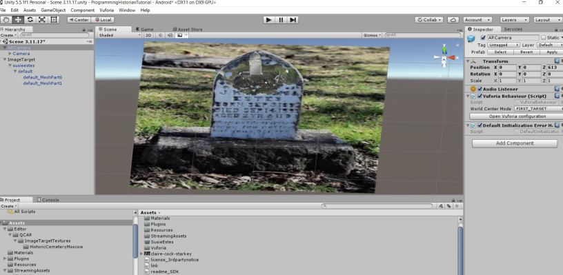 The 3d Model of Susie Hope Estes' Headstone (created using SCANN3D app) overlaid on a Photograph of Susie Hope Estes' Headstone