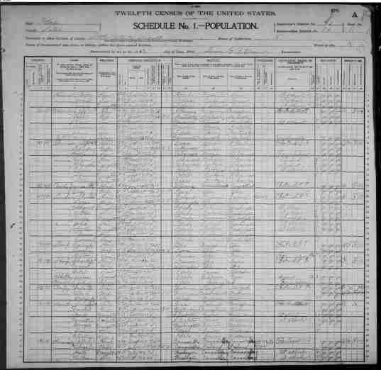 1900 Census Schedule for Idaho that lists the Rood family.