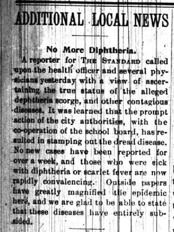 A December 12, 1896 edition of The Double Standard announces the cessation of the diphtheria outbreak and quarantine.
